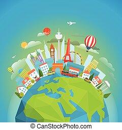 concetto, intorno, viaggiare, famoso, vettore, world.,...