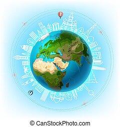 concetto, intorno, viaggio mondo, vettore