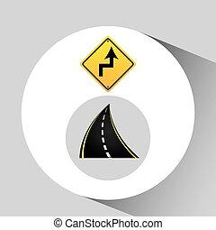 concetto, invertire, segno, turno, grafico, strada