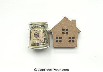 concetto, ipoteca, spazio, soldi, prestito, dollaro, proprietà, copia