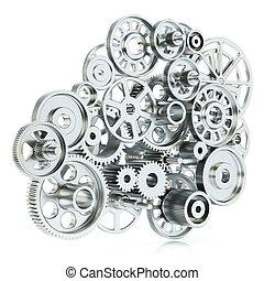 concetto, isolato, mechanism., ingranaggi, fondo, bianco, 3d