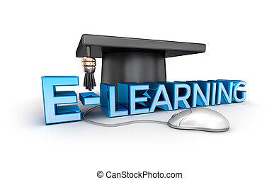 concetto, isolato, testo, e-imparando, bianco, 3d