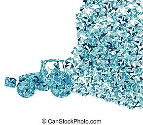 concetto, isolato, vettore, fondo, frammenti, fatto, bianco, trattore