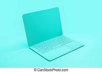 concetto, laptop, materiale, fondo., singolo, tuquoise, astratto, minimo