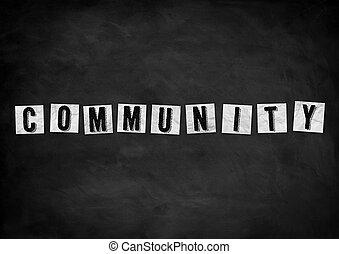 concetto, lavagna, comunità