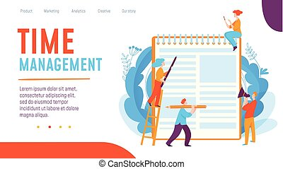 concetto, lavorativo, affari, persone., illustrazione, creativo, vettore, gestione del proprio tempo