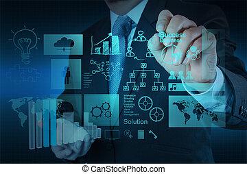 concetto, lavorativo, successo, moderno, mano, computer affari, uomo affari, nuovo