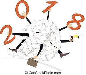 concetto, lavoro, anno, illustrazione, squadra, nuovo