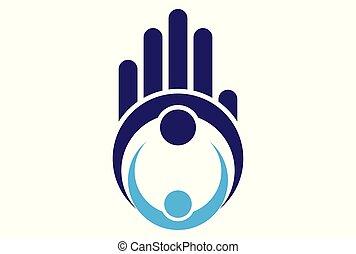 concetto, lavoro, dita, mano, squadra, logotipo, icona