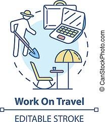 concetto, lavoro, icona, viaggiare