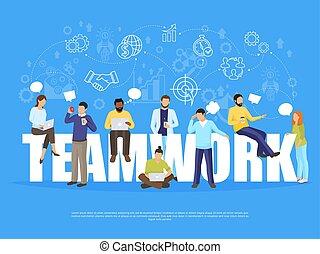 concetto, lavoro squadra, illustrazione