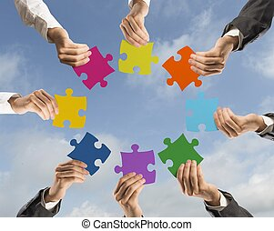 concetto, lavoro squadra, integrazione