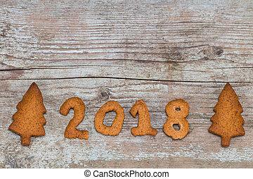 concetto, legno, -, numero, nuovo, 2018, fondo, anno, pan zenzero, felice