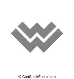 concetto, lettera, vettore, w, logotipo, icon.