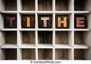 concetto, letterpress, legno, cassetto, decima, tipo