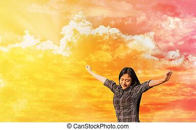 concetto, libertà, cielo, allegro, sognante, donne