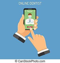 concetto, linea, odontoiatria