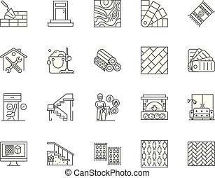 concetto, lineare, pavimento, set, icone, illustrazione, vettore, linea, segni, contorno