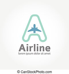concetto, logotype, linea aerea, logotipo, icona, design.