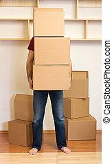 concetto, lotti, -, scatole, portante, uomo commovente