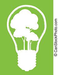 concetto, luce, albero, isolato, vettore, fondo, manifesto, bulbo, bianco