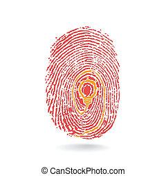 concetto, luce, educazione, idea, creativo, impronta digitale, bulbo, segno, simbolo.