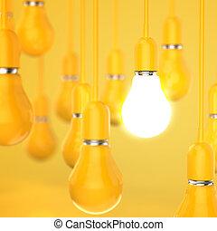 concetto, luce, idea, creativo, direzione, disegno, bulbo, 3d