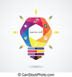 concetto, luce, idea, creativo, fondo, bulbo
