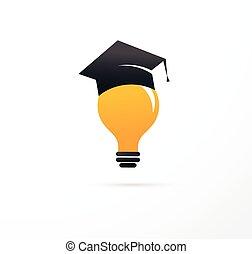 concetto, luce, -, idea, studente, educazione, cappello, bulbo, icona