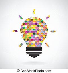concetto, luce, puzzle, idea, creativo, bulbo, fondo