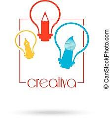 concetto, luce, simbolo, coperchio, idea, illustrazione, creativo, fondo., vettore, disegno, aviatore, manifesto, opuscolo, bulbo, identità
