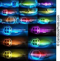 concetto, magia, mega, luce, globo, collezione, sfondi, astratto, ardendo, set, energia, neon