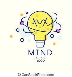 concetto, manifesto, mente, energy., logotipo, etichetta, style., generation., colorito, educazione, creativo, lineare, affari, processo, idea, opuscolo, bulbo, luce, coperchio, o, vettore, originale