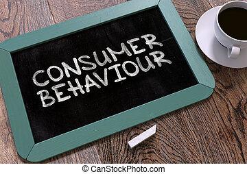 concetto, mano, comportamento, chalkboard., disegnato, consumatore