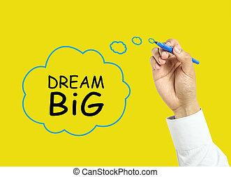 concetto, mano grande, uomo affari, sogno, disegno