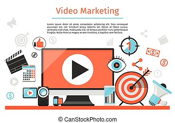 concetto, marketing., astratto, vettore, video, fondo