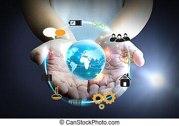 concetto, media, titolo portafoglio mano, sociale, rete