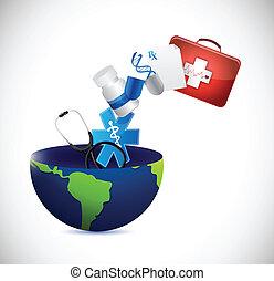 concetto medico, disegno, globo, illustrazione