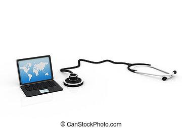concetto, medico, stetoscopio, linea,  laptop