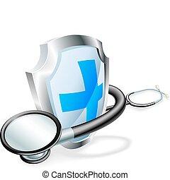 concetto medico, stetoscopio, scudo