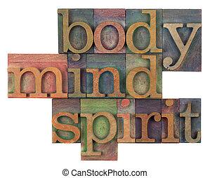 concetto, mente, corpo, spirito