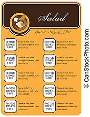concetto, menu ristorante, pieno, disegno, insalate