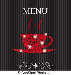 concetto, menu ristorante, valentines, illustrazione, day., vettore