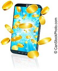 concetto, mobile, soldi, volare, telefono cellulare, moneta