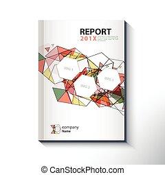 concetto, moderno, coperchio, vettore, disegno, relazione annuale