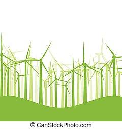 concetto, natura, turbine, illustrazione, movimento, vettore, fondo, vento