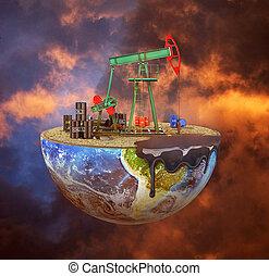 concetto, naturale, planet., pianeta, fondo., pompa, olio, extraction., risorsa, eco-concept., risparmiare, taglio, lunatico