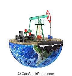 concetto, naturale, taglio, isolato, pianeta, fondo., pompa, olio, extraction., risorsa, eco-concept., bianco