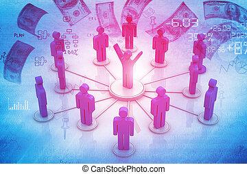 concetto, networking affari