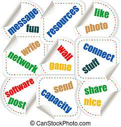 concetto, networking, media, parole, sociale, adesivi